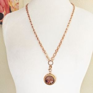 Origami Owl Rose Gold Locket Necklace